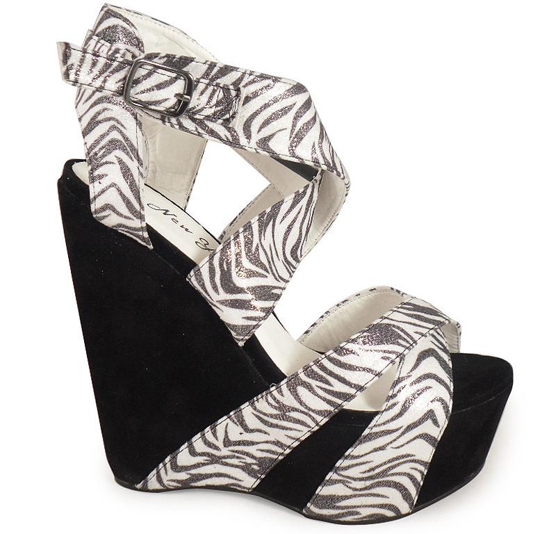 new womens zebra print wedge shoes size 3 8 ebay