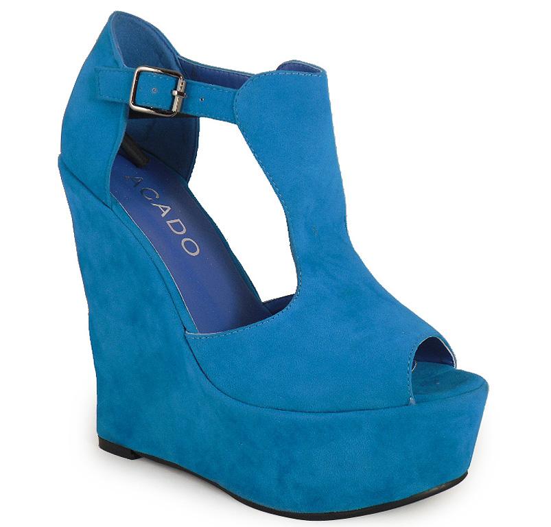 womens blue suede peeptoe wedge shoes sizes 3 7 ebay